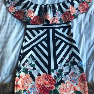 Striped and flowered dress from Akira